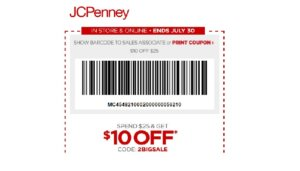 $10 off a $25 Purchase at JCPenney