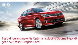 Free $25 Gift Card When You Test-Drive New Kia Optima