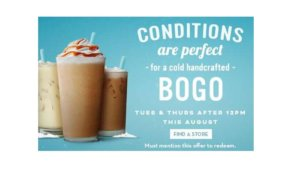 Free Bogo Cold Beverage at Caribou Coffee