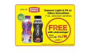 Free Dannon Light & Fit or Oikos Smoothies at Giant Eagle