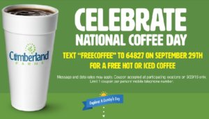 Free Hot or Iced Coffee at Cumberland Farms Today