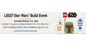 Free LEGO Star Wars Build Event at Barnes & Noble on 10/1