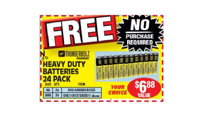 Free 24 Pack Of Heavy Duty Aa Or Aaa Batteries At Harbor