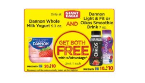 Free Dannon Whole Milk Yogurt and Light & Fit or Oikos Smoothie Drink